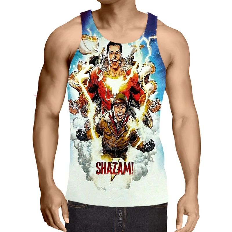 Shazam Blue Lightning Pair Sleek Style  Tank Top