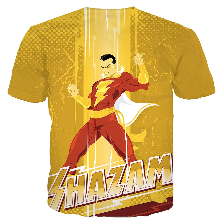 Shazam Gold Power Style Glow Style T-Shirt