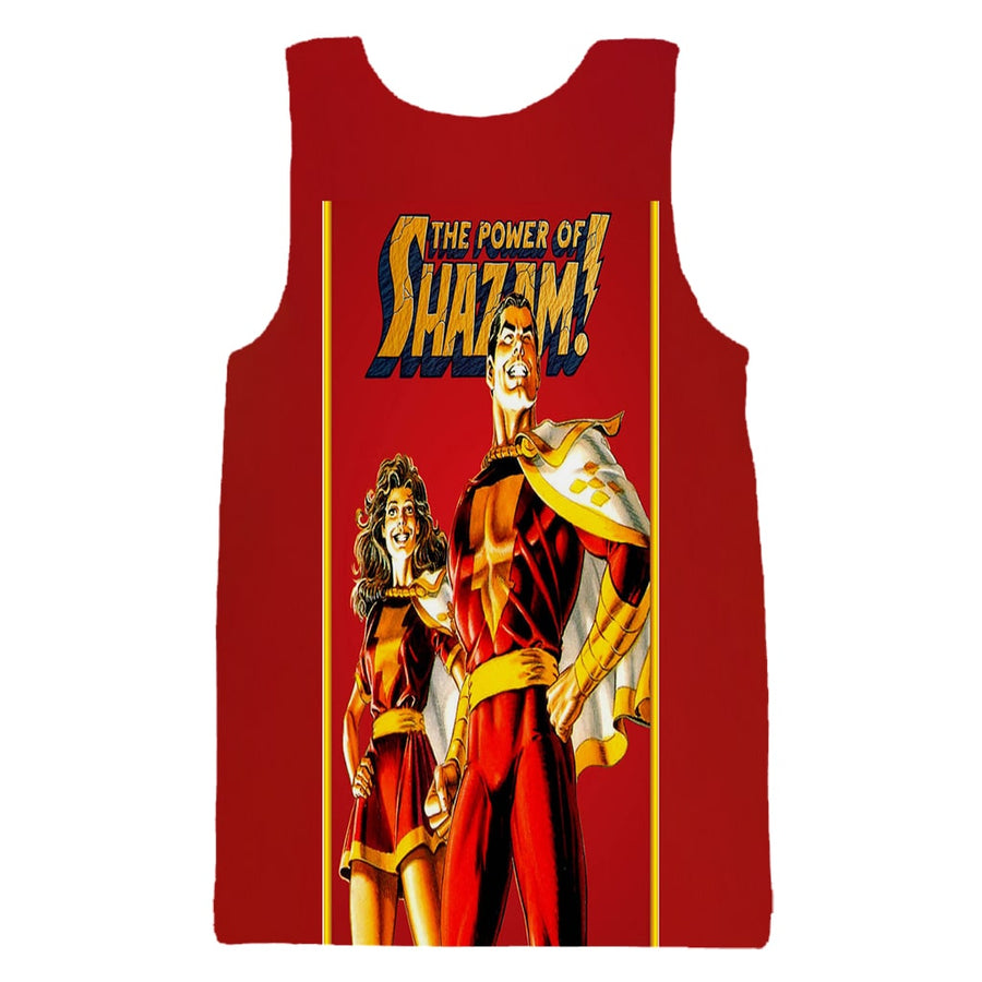 Shazam The Power Couple Red Gold Tank Top