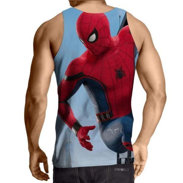 Spiderman 3D Printed Hanging Spiderman Tank Top - Anime Wise