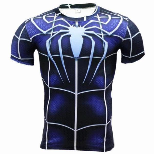 Spiderman Tee 3D Printed Blue White Bold Spiderman T-Shirt