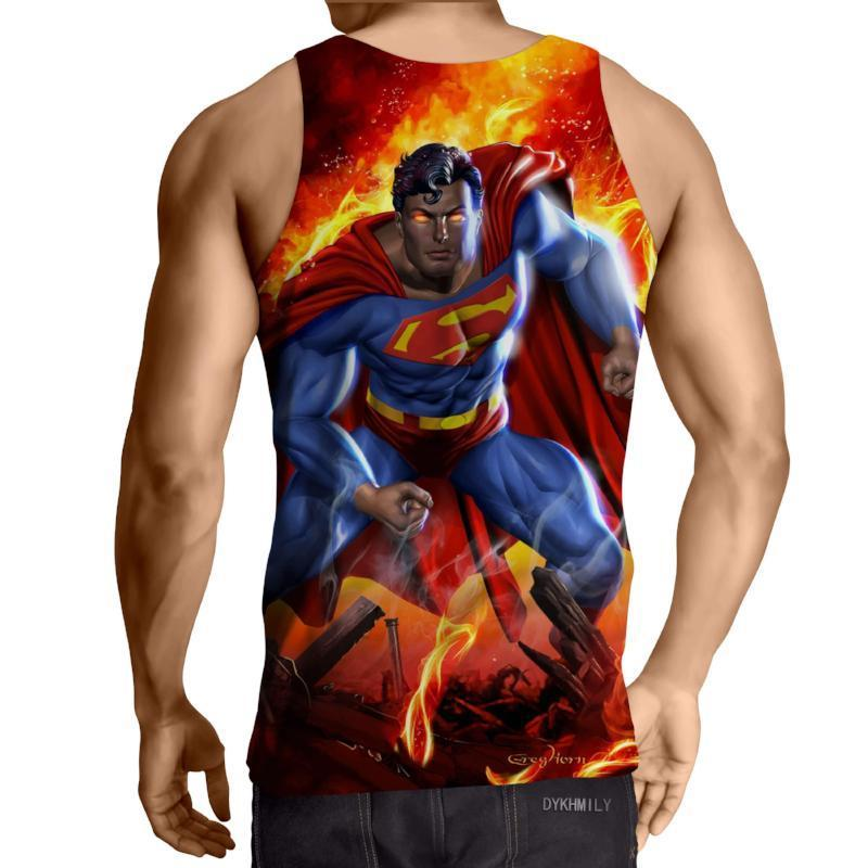 Superman Fighting Action 3D Printed Superman Tank Top - Anime Wise