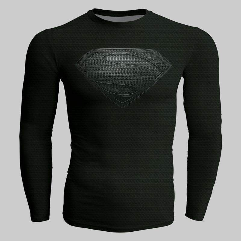 Superman Pure Black 3D Printed Superman Long Sleeve Shirt