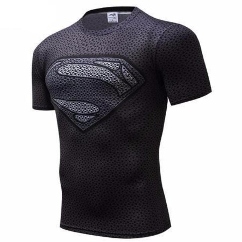 Superman Tee Cool Black & Grey 3D Printed Superman T Shirt