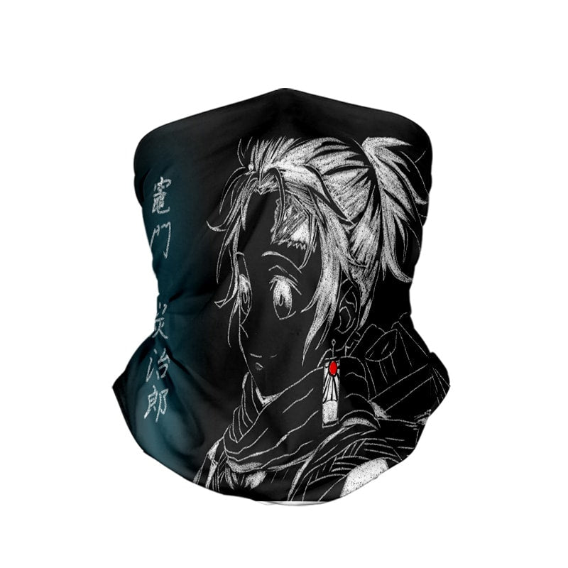 Tanjiro Kamado Graphite Sketch Demon Slayer Neck Gaiter Face Shield Bandanna Scarf