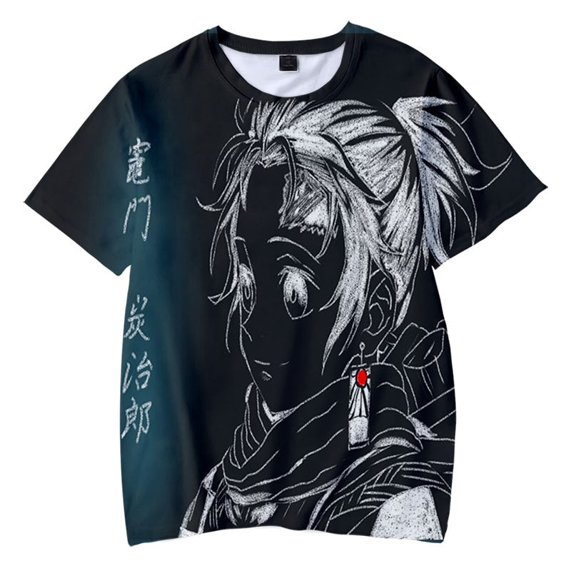 Tanjiro Kamado Graphite Sketch Style Demon Slayer Kimetsu No Yaiba T-Shirt