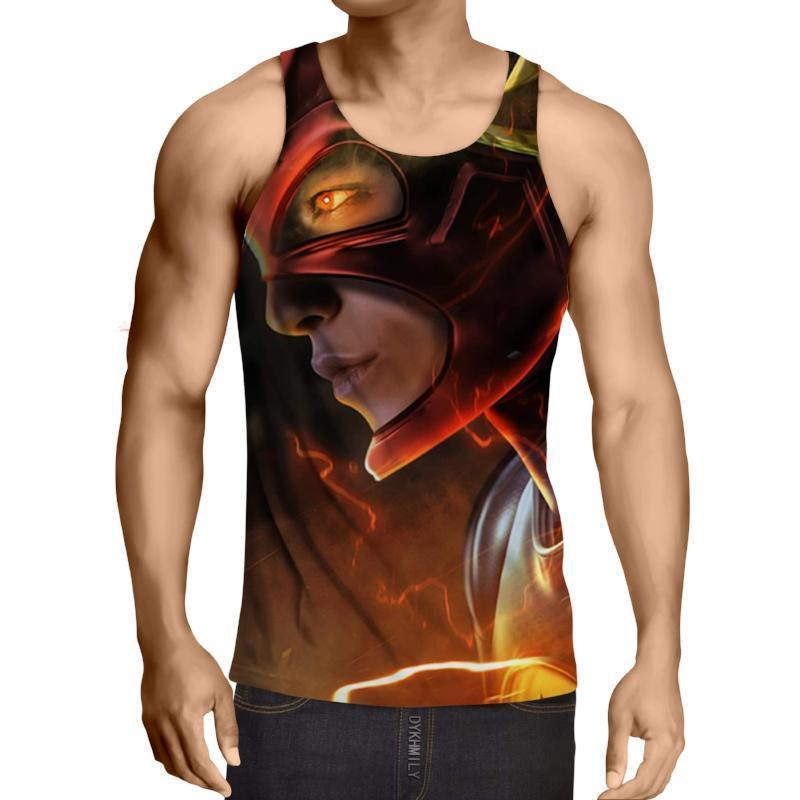 Red Black 3D Printed The Flash Tank Top - Anime Wise