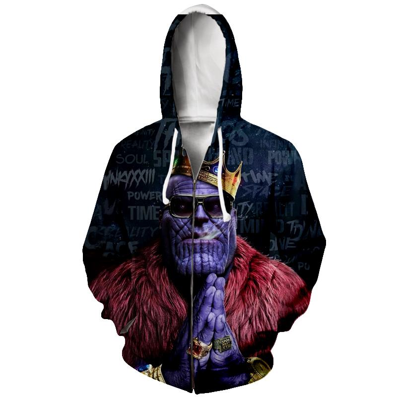 King Thanos Smoking Hip Hop Rap Style Zip Up Thanos Hoodie