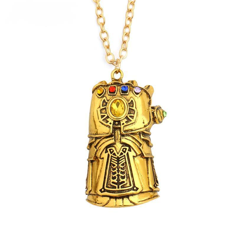 Thanos Gold Gauntlet Infinity Stones Crystals Thanos Pendant Necklace - Anime Wise