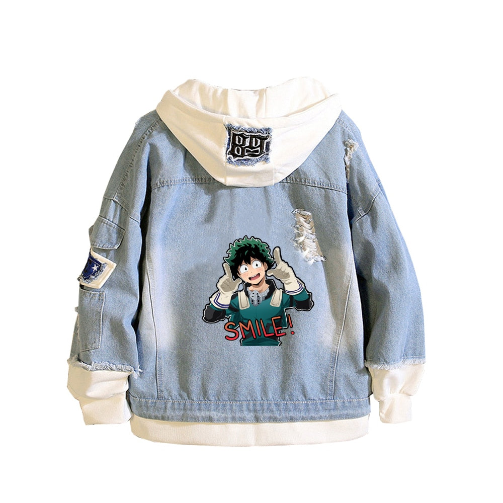 My Hero Academia Denim Jeans Casual Hooded  Boku no Hero Academia Sweatshirt Jacket