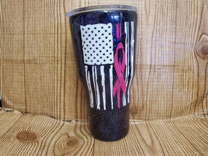 30oz Ribbon flag cancer tumbler