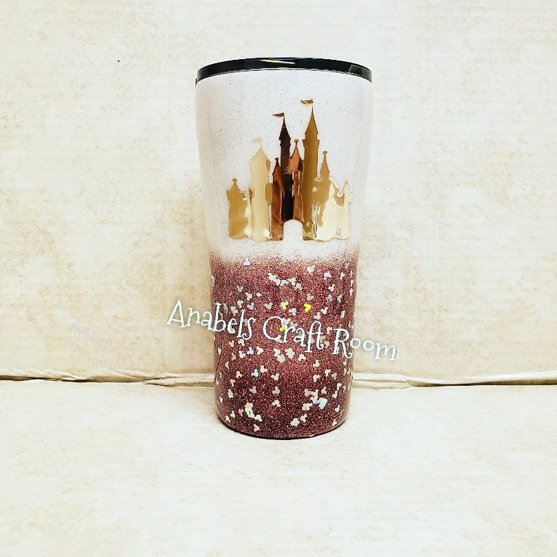 Dark Rose Gold glitter Disney castle tumbler
