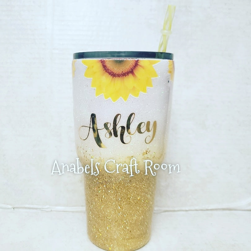 Sunflower Gold and Yellow Glitter tumbler