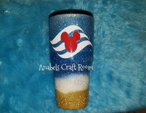 Disney cruise flag Beach glitter tumbler