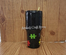 Autism awareness black glitter puzzle tumbler