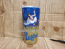 Aladdin and Jasmine carpet ride glitter tumbler