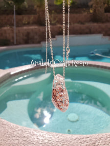 Rose Gold glitter Resin Pendant