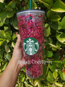 Holographic Hot Pink Mickey Floating Starbucks