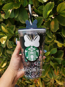 Black Mickey / white Bow Snow Globe Starbucks tumbler