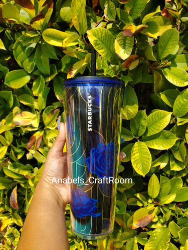 Starbucks blue flower Gold trim