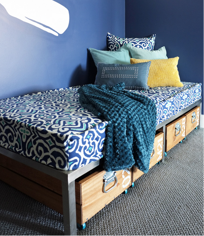 Boho Throw blankets & pillows used on a small bed