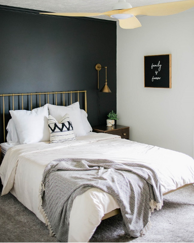 Black accent in a bedroom
