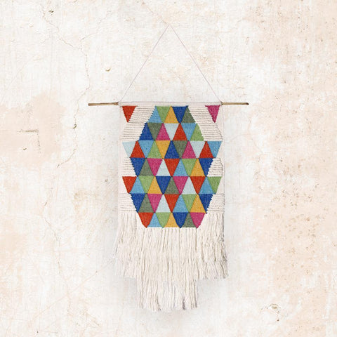 Colorful geometric multi triangle handmade woven wall decor by The Artisen