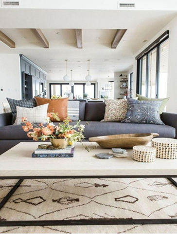 Using cushions and throw blankets for your modern boho decor
