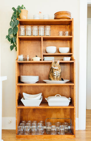 Store your cutlery and cats out in the open to save space and add one more element of decor