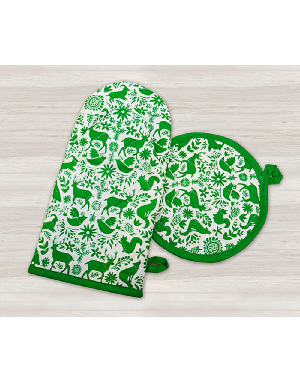 Holiday Oven Mitts & Pot Holder/ Set of 2, Otomi Green