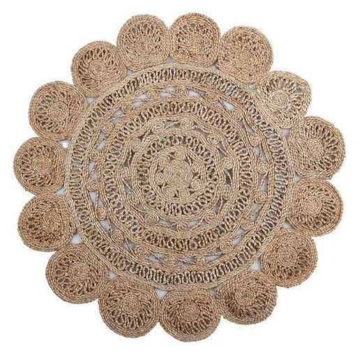 Flora Jute Rug, Natural - 40Inch Floor Rug - The Artisen