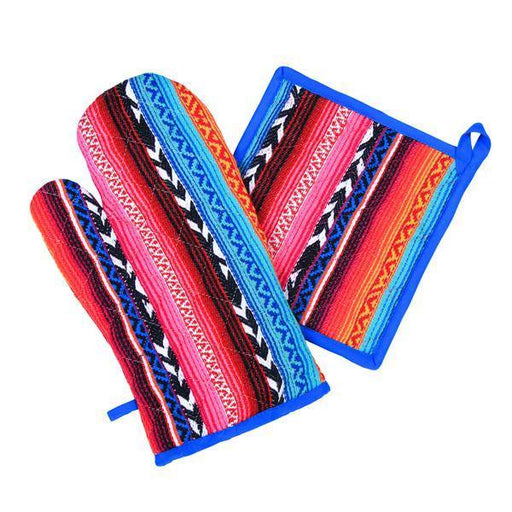 Multi Arrow Oven Mitts & Pot Holder/Set Of 2 Oven Mitt & Potholder - The Artisen