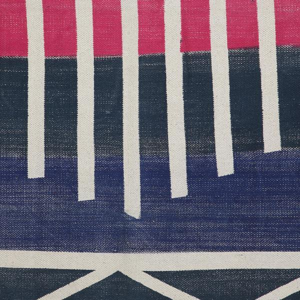 Navy Blue with Natural Stripes Printed Rug - 36x60 inch - The Artisen
