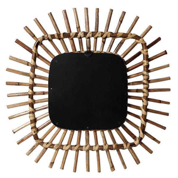 Square Spike Rattan Mirror Wall Decor - 15 inch Wallhanging - The Artisen