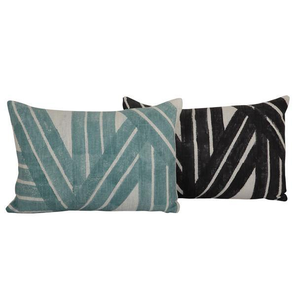 Stripe Sky Cushion, Black - 14x20 inch - The Artisen
