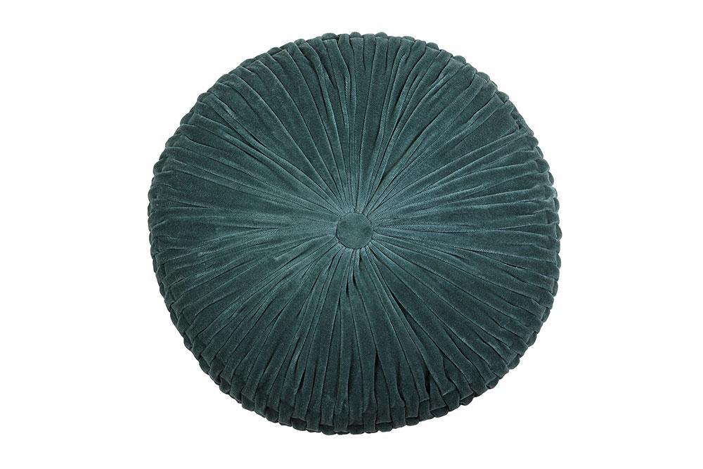 Velvet Round Cushion - Evergreen - 16 x 16 Cushion - The Artisen