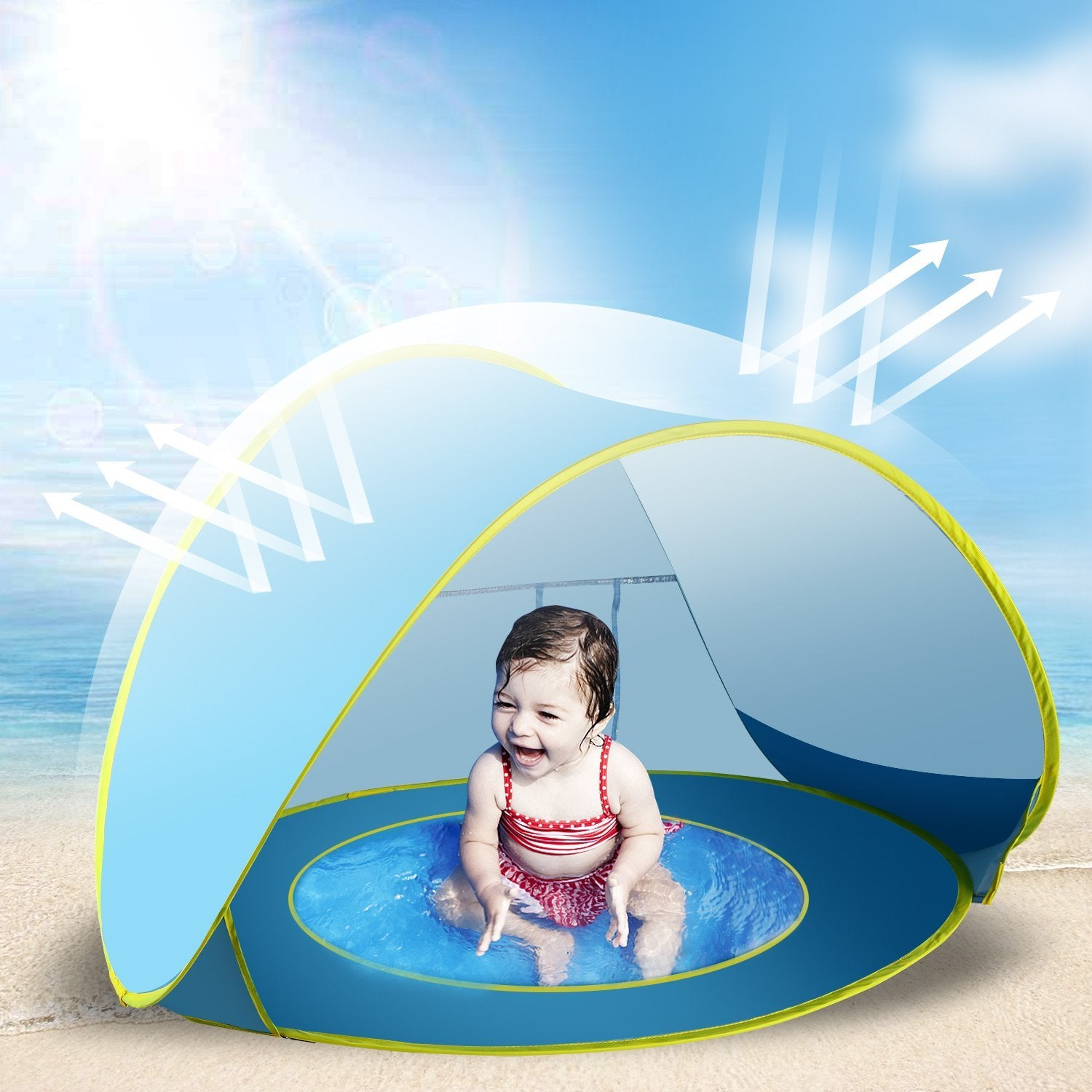 Pop Up Baby Beach Tent Portable Infant Sun Shelter Play With Kiddie PoolUV Protection By VicPow