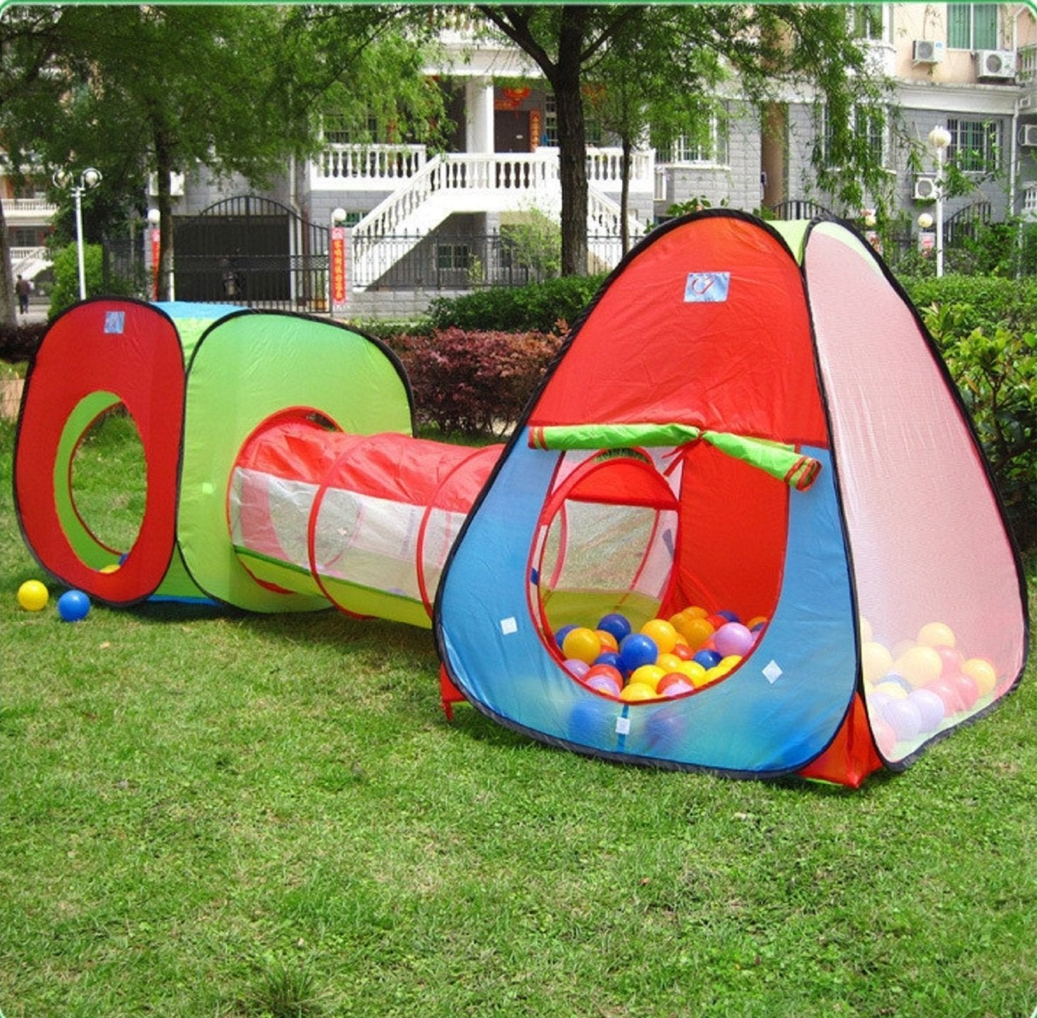 Kids Indoor Play Tent With Tunnel SetOutdoor Children Playhouse Ball Tent - Perfect Gift For Toddlers Child(Ball Pits Not Included) & Kids Play Tent With Tunnel SetOutdoor Children Playhouse u2013 VicPow