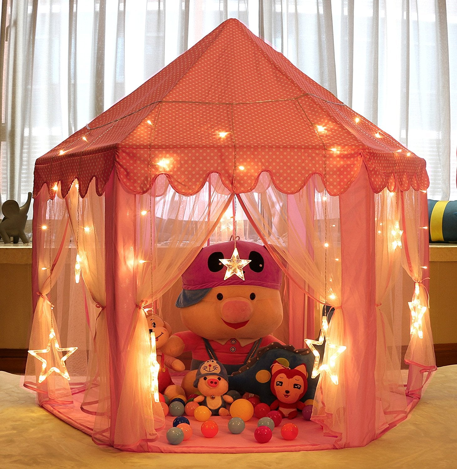Kids Princess Castle Play TentGirls Indoor Playhouse with Small Led Star Lights55u0027u0027x 53u0027u0027(DxH)Ballsu0026Blanket Not Included & Kids Princess Castle Play TentGirls Indoor Playhouse u2013 VicPow