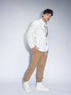 Luxury Gator Embossed Leather Biker Jacket (White)