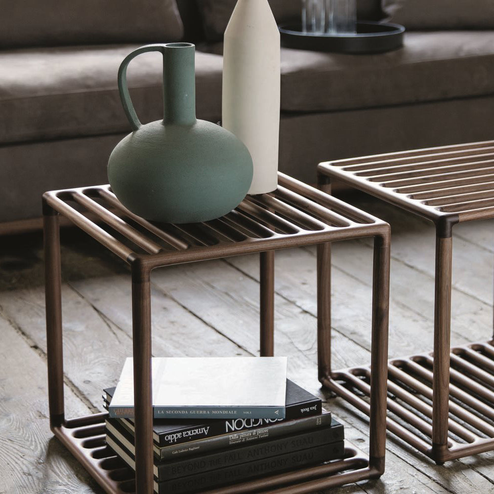 Raster Side Table with Leather Tray