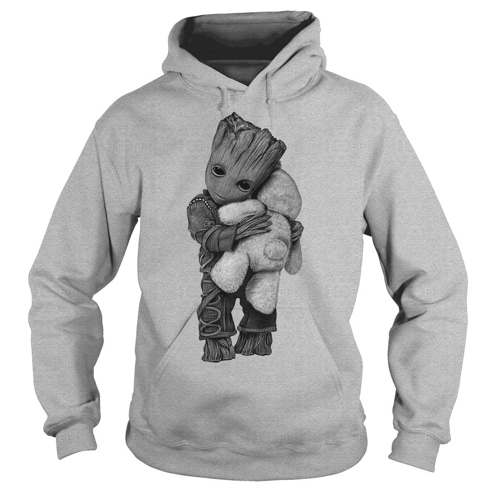 Guardians Galaxy Groot Hugging Teddy Bear Kids Hoodie
