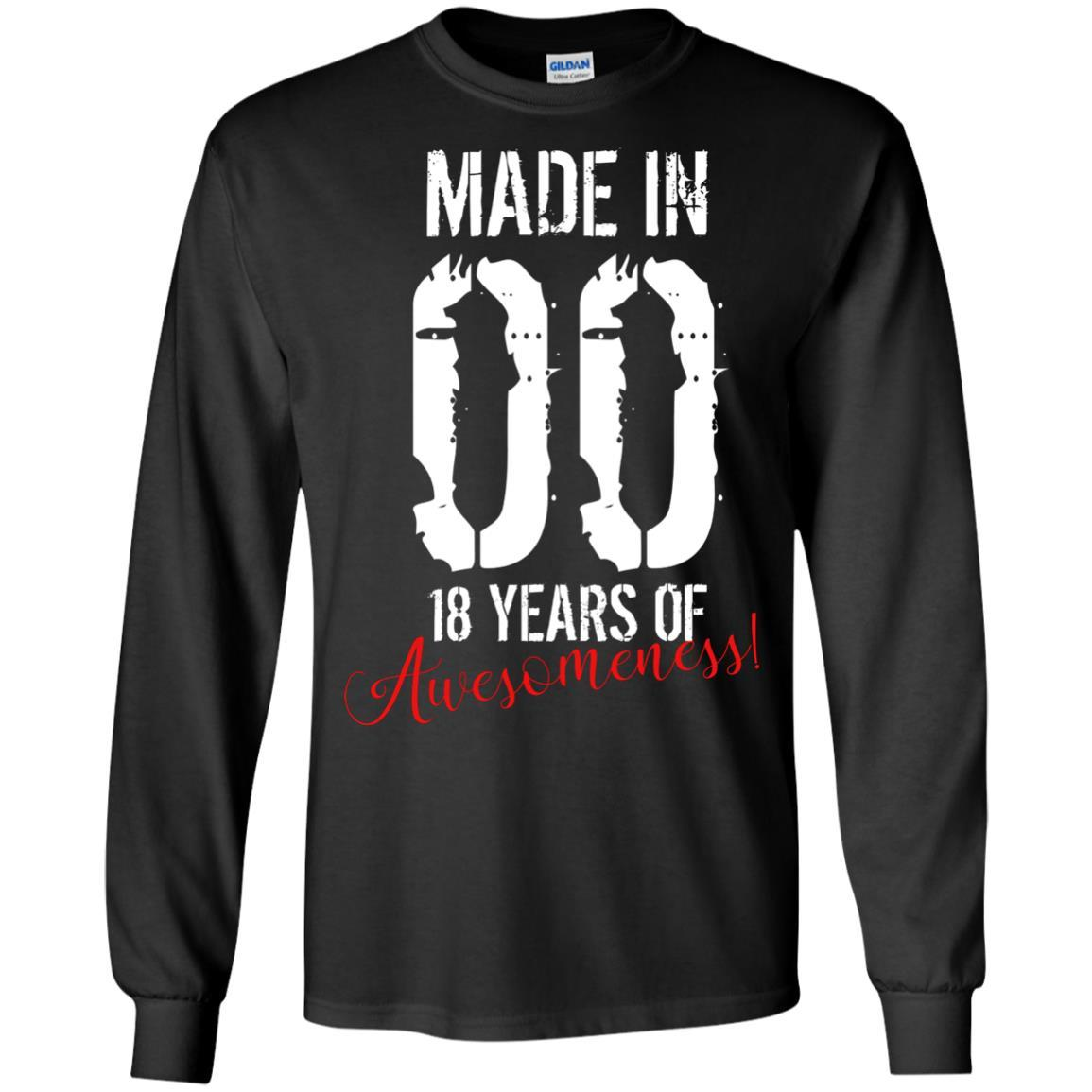 18 Year Old Birthday Gift Shirt - Awesome 18th Birthday Gift Long Sleeve 240