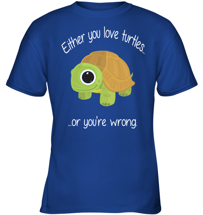 Either You Love Turtles Or You're Wrong Kids Tee