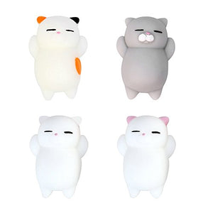 Toposend Pack of 4 Healing Toys Cute Mini Squishy Squeeze Soft Collection Stress Reliever Gift Decor Colorful White Gray Cat Shape