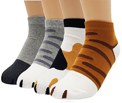 JJMax Women's Cute Kitty Cat Paws Socks with Paw Prints on Toes, Ankle 4 Pair Set, One Size,Ankle 4 Pair Set,One Size