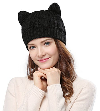 Women's Hat Cat Ear Crochet Braided Knit Caps,Black