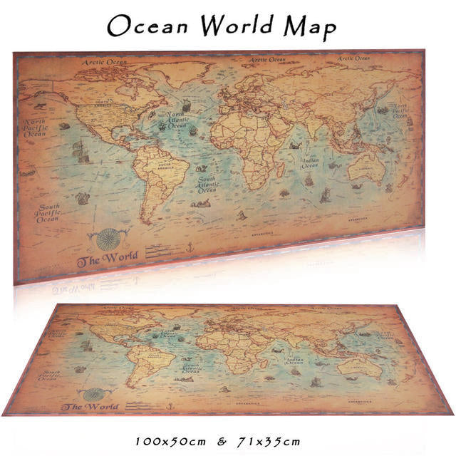 Vintage nautical world map poster spooooof package vintage nautical world map frame not included gumiabroncs Image collections