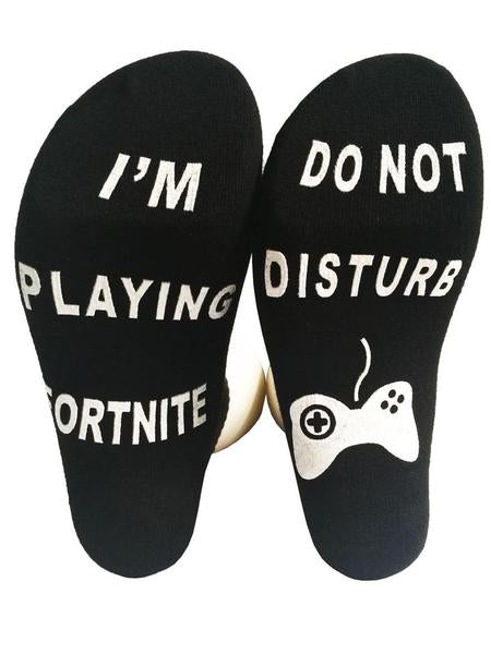 Fortnite Cotton Blend Unisex Letter Crew Socks