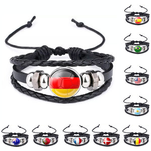 Soccer Team National Flag Cuff Bracelet